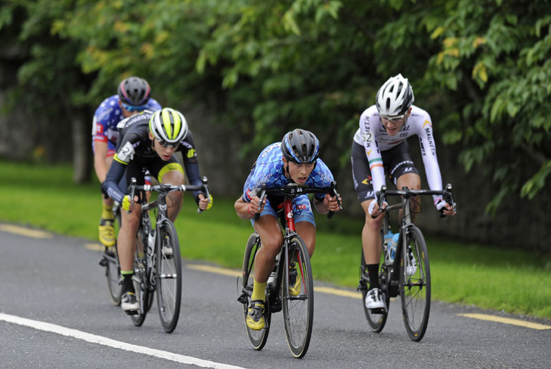 17 July 2016; Logan Zueger of Hot Tubes leads the breakway quartet during Stage 6 of the 2016 Scott Bicycles Junior Tour of Ireland, Ennis, Co. Clare. Picture credit: Stephen McMahon/SPORTSFILE